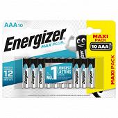 Piles Alcalines Energizer Max Plus AAA/LR3, pack de 10