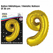 Ballon métallique or chiffre 9