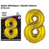 Ballon métallique or chiffre 8