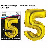 Ballon métallique or chiffre 5