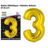 Ballon métallique or chiffre 3