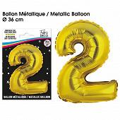 Ballon métallique or chiffre 2