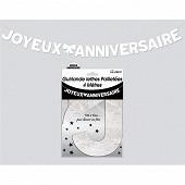 Guirlande lettres paillettee blanc albatre 4 metres joyeux anniversaire