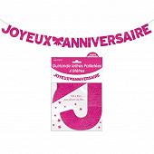 Guirlande lettres paillettee fuchsia 4 metres joyeux anniversaire