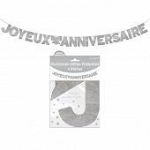 Guirlande lettres paillettee argent 4 metres joyeux anniversaire