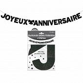 Guirlande lettres paillettee noire 4 metres joyeux anniversaire