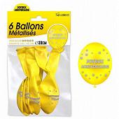 Sachet 6 ballons metal jaune joyeux anniversaire
