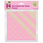 Serviettes de table pastel x24 rose