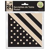 Serviettes de table pastel x24 noir