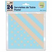 Serviettes de table pastel x24 bleu
