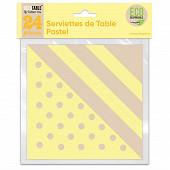 Serviettes de table pastel x24 jaune