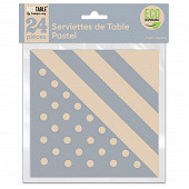 Serviettes de table pastel x24 gris