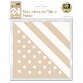 Serviettes de table pastel x24 blanc