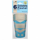 Gobelets x6 pastel 25cl bleu