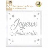 Serviettes de table anniversaire x24 blanc
