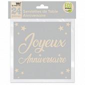 Serviettes de table anniversaire x24 gris