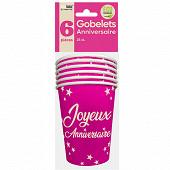 Gobelets x6 anniversaire 25cl fuchsia