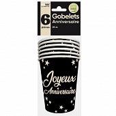 Gobelets x6 anniversaire 25cl noir
