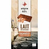 Grain de Sail Tablette chocolat lait cacahuètes caramel et fleur de sel bio  - 100g