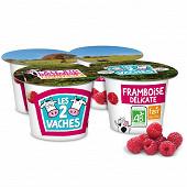 Les 2 Vaches yaourt brassé framboises délicates 4x115g
