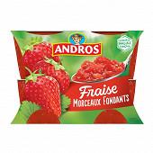 Andros dessert de fraises et de groseilles avec morceaux 4x100g