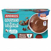 Andros végétal & gourmand mousse au chocolat 4x55g