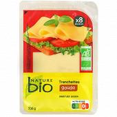 Nature bio Gouda bio tranches 200g - 28% mg/pt lait lait pasteurisé - affinage