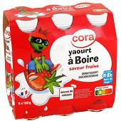 Cora Kido yaourt à boire saveur fraise 6x180g