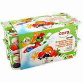 Cora kido yaourt aromatisé(saveur: banane,framboise,fruits des bois,abricot,fraise,vanille) 16x125g