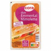 Cora duo emmental mimolette - spécial baguette - 7 tranches - 2x125g