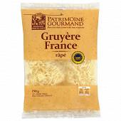 Patrimoine gourmand gruyère de France râpé IGP au lait cru 150 g