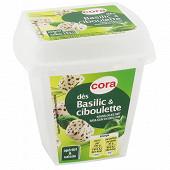 Cora dés de spécialité fromagère basilic et ciboulette au lait pasteurisé 120g -34%mg