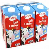 Cora lait entier stérilisé uht brique 6 x 1l