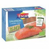 Escal sachet de 2 pavés de saumon bio crus avec peau 250g