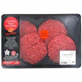 Cora dégustation steak haché 15% façon bouchère charolais spécial hamburger 4x140g