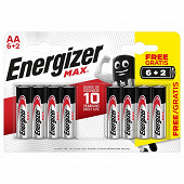 Energizer 6 piles alcalines AA (LR6) + 2 offertes max +powerseal