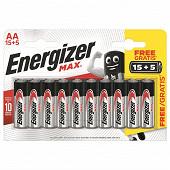 Energizer Max 20 piles AA (lr06) 15+5 piles gratuites