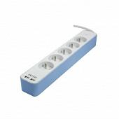 Chacon bloc 5 prises 16A + 2 USB - câble 1.5 m 3G1.0 mm  coloris blanc-bleu