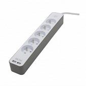 Chacon bloc 5 prises 16A + 2 USB - câble 1.5 m 3G1.0 mm   coloris blanc-brun