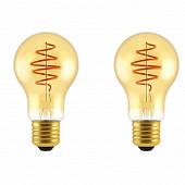 Gétic lot de 2 ampoules filament A60 E27 spirale déco/gold-5W-250LM-200K