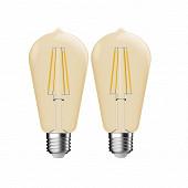 Gétic lot de 2 ampoules filament ST64 E27 déco/gold - 5.4W -380LM - 2500K