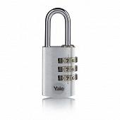 Yale cadenas aluminium à combinaison 28mm argent anse acier 3 chiffres