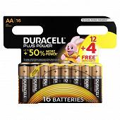 Duracell 12 piles alcalines AA (LR6) + 4 offertes plus power