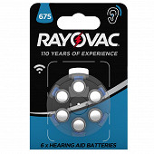 Rayovac piles auditives acoustic v 675 x 6