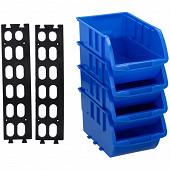 Kinzo lot de 4 casiers empilables 20 x 12 cm avec rail de fiaxtion