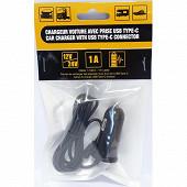 Chargeur téléphone allume cigare 12/24V 1A USB-C cable 1M