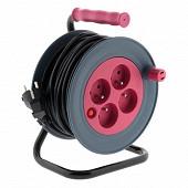 Prodelect enrouleur compact 4 ports 16 A - 15m câble HO5VV-F 3G1.0mm  couleur rose