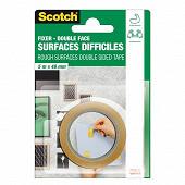 Scotch double face surfaces difficiles 5mX48mm