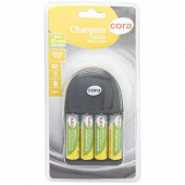 Cora chargeur compact 9v + 4 piles rechargeables AA 2050 mAh déjà chargées