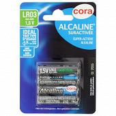 Cora 4 piles alcalines suractivées AAA (lr03)